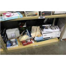 SHELF LOT OF DEPARTMENT STORE GOODS: SHEET SET, FRYER BASKET, TOWELS AND MORE
