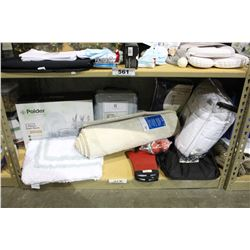 SHELF LOT OF DEPARTMENT STORE GOODS: DISH RACK, BATH MATS, MATTRESS PAD AND MORE
