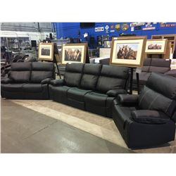 BLACK LEATHER THREE PIECE RECLINING SOFA SET (SOFA, LOVESEAT AND CHAIR)