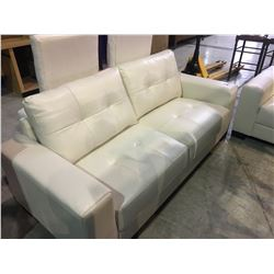 WHITE LEATHER SOFA AND LOVE SEAT