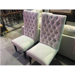 PAIR OF WHITE BUTTON BACK CHAIRS