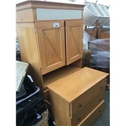 ENTERTAINMENT UNIT AND THREE DRAWER DRESSER