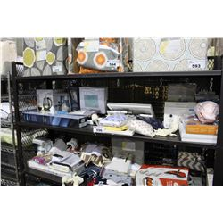 SHELF LOT OF DEPARTMENT STORE GOODS: DIFFUSER, BABY MONITOR, TOWEL BAR AND MORE