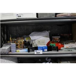 SHELF LOT OF DEPARTMENT STORE GOODS: GRILL MATS, DUVET COVER, BATHMATS AND MORE