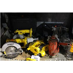 SHELF LOT OF DEWALT TOOLS