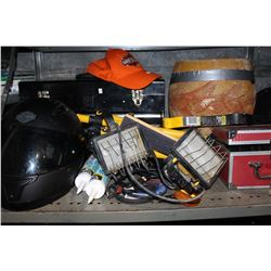 SHELF LOT OF TOOLS AND COLLECTABLES