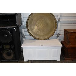 WHITE STORAGE TRUNK AND LARGE ROUND PLATTER