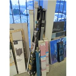 LARGE LOT OF CURTAIN RODS/SHOWER RODS/ROMAN SHADES/MISC
