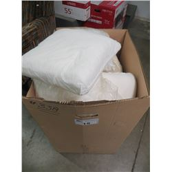 LARGE BOX OF ASSORTED THROW PILLOWS