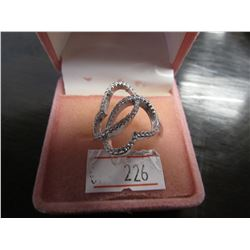 STERLING SILVER BUTTERFLY SHAPED CUBIC ZIRCONIA RING RETAIL $150