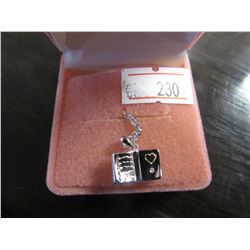 STERLING SILVER BOOK SHAPED NECKLACE RETAIL $195
