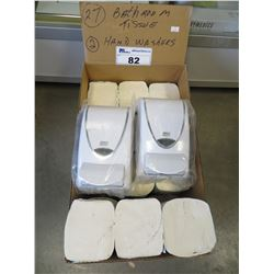 27 BATHROOM TISSUE PACKAGES/2 SOAP DISPENSERS