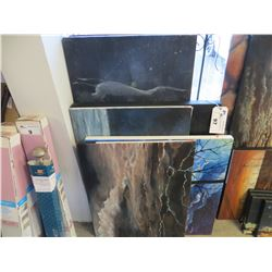 6 PAINTED CANVASES & 1 BOARD BY JASON HUSMILLO