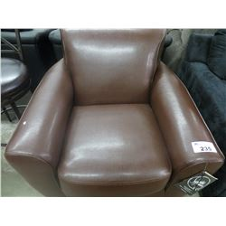 NEW BROWN LEATHER & FABRIC SIGNATURE DESIGN CHAIR