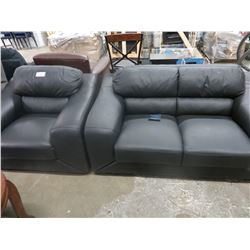 NEW BLACK PREMIER LEATHER LOVE SEAT & MATCHING CHAIR