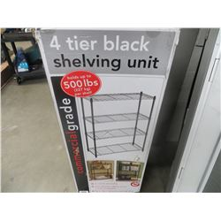 "4 TIER BLACK SHELVING UNIT (36""W X 14""D X 54-5/8""H)"