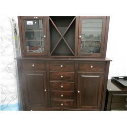"11 DRAWER DARK STAINED SIDE BOARD WITH TOP WINE RACK 62.5""W X 79.5""H X 19""D"