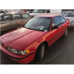 1991 ACURA INTEGRA, RED, 2 DOOR HATCHBACK, VIN#JH4DA9443MS805709,