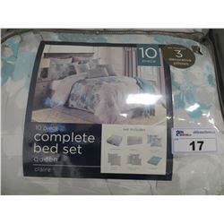 CLAIRE 10 PC QUEEN SIZE COMPLETE BED SET