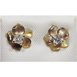 14KT CUBIC ZIRCONIA EARRINGS WITH MOTHER OF PEARL FLOWER JACKET 2 IN 1 EARRINGS. RETAIL $200