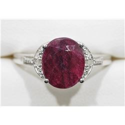 STERLING SILVER RUBY (APP. 3CT) WITH 2 DIAMOND RING. RETAIL $300