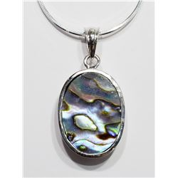 STERLING SILVER ABALONE NECKLACE WITH CHAIN (APP. 12G). RETAIL $300
