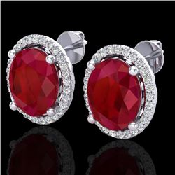 6 CTW Ruby & Micro Pave VS/SI Diamond Certified Earrings Halo 18K White Gold - REF-101H6W - 21062