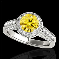 1.8 CTW Certified Si Fancy Intense Yellow Diamond Solitaire Halo Ring 10K White Gold - REF-178W2H -