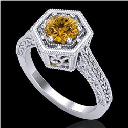 0.77 CTW Intense Fancy Yellow Diamond Engagement Art Deco Ring 18K White Gold - REF-130T9X - 37504