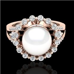 0.83 Ct Micro Pave VS/SI Diamond Certified & Pearl Halo Ring 14K Rose Gold - REF-71W6H - 20705