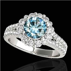 2.01 CTW SI Certified Fancy Blue Diamond Solitaire Halo Ring 10K White Gold - REF-209F3M - 33936