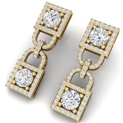 4 CTW Certified SI/I Diamond Halo Earrings 18K Yellow Gold - REF-265M9F - 40159