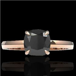 3 CTW Cushion Cut Black VS/SI Diamond Solitaire Engagement Ring 14K Rose Gold - REF-80N5Y - 22134