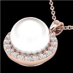 0.25 CTW Micro Halo VS/SI Diamond Certified & White Pearl Necklace 14K Rose Gold - REF-33Y8N - 21577
