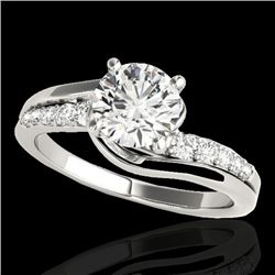 1.31 CTW H-SI/I Certified Diamond Bypass Solitaire Ring 10K White Gold - REF-156W4H - 35117