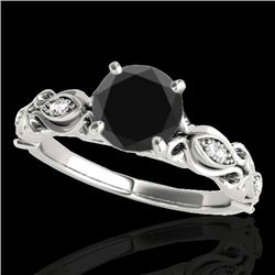1.1 CTW Certified Vs Black Diamond Solitaire Antique Ring 10K White Gold - REF-47X8T - 34633