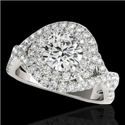1.75 CTW H-SI/I Certified Diamond Solitaire Halo Ring 10K White Gold - REF-209F3M - 33864