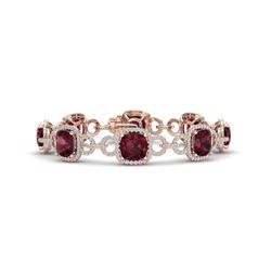 30 CTW Garnet & VS/SI Diamond Certified Bracelet 14K Rose Gold - REF-368R9K - 23024