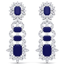 30.25 CTW Royalty Sapphire & VS Diamond Earrings 18K White Gold - REF-581Y8N - 39411