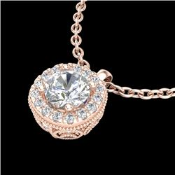 1.1 CTW VS/SI Diamond Solitaire Art Deco Stud Necklace 18K Rose Gold - REF-218N2Y - 37122