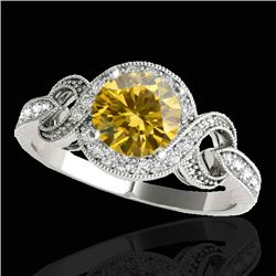 1.33 CTW Certified Si Fancy Intense Yellow Diamond Solitaire Halo Ring 10K White Gold - REF-176R4K -