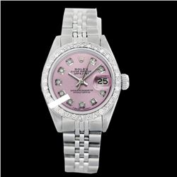 Rolex Ladies Stainless Steel, Diamond Dial & Diamond Bezel, Saph Crystal - REF-355K6R