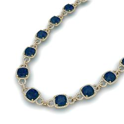 56 CTW Sapphire & VS/SI Diamond Necklace 14K Yellow Gold - REF-960F2M - 23051