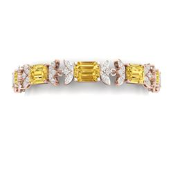 35.21 CTW Royalty Canary Citrine & VS Diamond Bracelet 18K Rose Gold - REF-356M4F - 39403