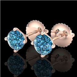 1.01 CTW Fancy Intense Blue Diamond Art Deco Stud Earrings 18K Rose Gold - REF-100R2K - 38231