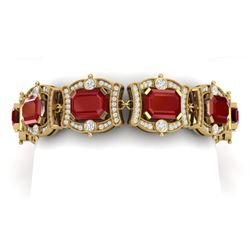 43.87 CTW Royalty Ruby & VS Diamond Bracelet 18K Yellow Gold - REF-836T4X - 38780
