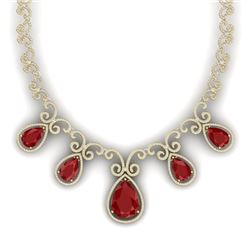 38.42 CTW Royalty Ruby & VS Diamond Necklace 18K Yellow Gold - REF-1218K2R - 39530