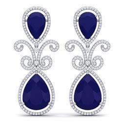 31.6 CTW Royalty Sapphire & VS Diamond Earrings 18K White Gold - REF-400K2R - 39546