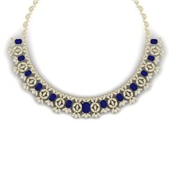 50.44 CTW Royalty Sapphire & VS Diamond Necklace 18K Yellow Gold - REF-1654X5T - 39383