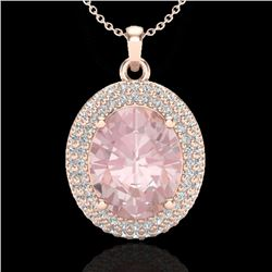 4.50 CTW Morganite & Micro Pave VS/SI Diamond Certified Necklace 14K Rose Gold - REF-150W2H - 20567